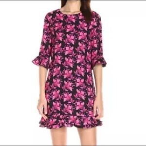 Pink floral prints ruffle trim shift dress